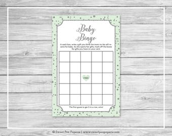 Mint and Silver Baby Shower Baby Bingo Game - Printable Baby Shower Baby Bingo Game - Mint and Silver Baby Shower - Baby Bingo Game - SP152