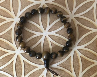 Tiger's Eye Power Bracelet - Tiger Eye Beaded Bracelet - 8mm Beads -  Root Chakra - 1st Chakra - Balance - Reiki - Energy Healing