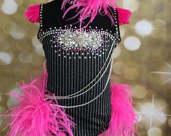 Jazz dance costume, custom jazz dance costume, competition dance costume, pink and black dance costume, pageant dance costume