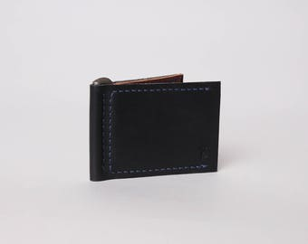 Leather Money Clip Wallet | Black Leather Wallet | Minimalist Leather Wallet | Slim Leather Wallet