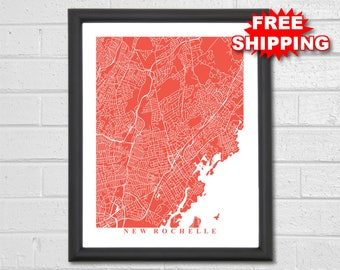 Ny city map etsy new rochelle map art city map new york travel map print malvernweather Images