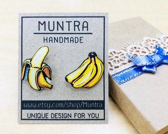 BANANA STUD EARRINGS Earrings Handmade Banana Earrings Resin Earrings Banana Jewelry Yellow Stud Earrings Resin Jewelry Fruit Earrings Gift