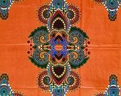 African Print Fabric/ Dutch Wax/ Ankara - Orange, Green, Blue 'I've Got Sunshine 2.0', YARD or WHOLESALE