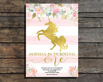 Pink and gold first birthday invitation Unicorn birthday invite Floral girl first birthday invitation Unicorn invitation watercolor flowers