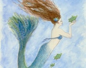 Mermaid with Her Sea Turtle , 5x7 Greeting card, from original watercolor by Tina Obrien,
