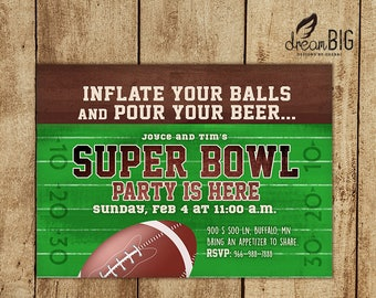 Jpeg invitation etsy super bowl lii party invite 2018 balls and beer football adult invitation stopboris Image collections