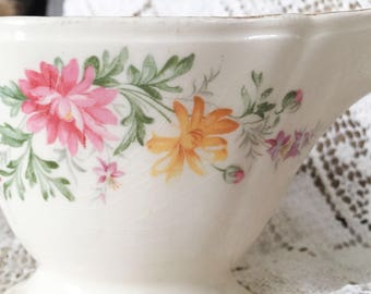 Vintage Knowles Shabby Chic Floral Gravy Boat