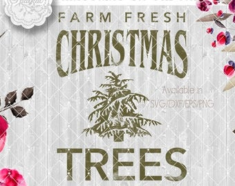 ON SALE Vintage Rustic Christmas SVG File, Cut Files Christmas Tree Farm Vector Clipart Holiday Decor, Silhouette Cutting file design