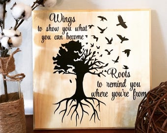 Wings & Roots Family Tree Wooden Aspen Sign--12x12--Wooded Family Tree Sign--Family