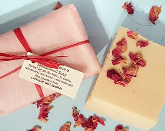 Rose | Sandalwood Goat's Milk Soap - SLS | Palm Oil Free - Cruelty Free skincare - Natural Soap Bar - Cold Pressed Soap - Handmade Soap