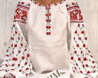 Embroidered Ukrainian Blouse Vyshyvanka, Boho Blouse