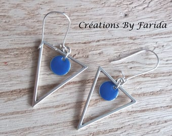 Earrings with a silver metal inverted triangle and a Royal Blue sequin