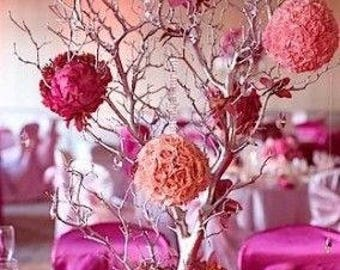 """32"""" 36"""" & 40"""" Tall Sterling Silver Manzanita Branches Only Centerpiece"""