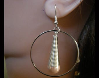Spiral ring with PALE Pink Pearl Earrings
