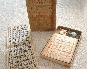 Antique Radio Bingo Game, Bingo Game 1900's Set No 1, Vintage Bingo Game, Pioneer Sample Book Bingo, Antique Bingo Game