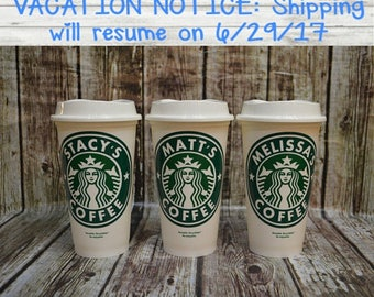 Travel Coffee Cup, Personalized Starbucks Coffee Cup • Personalized Cup • Custom Travel Tumbler (Genuine, Reusable) [high quality gift idea]