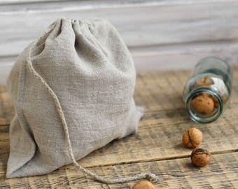 Linen bread bag, Zero waste bag, Natural linen storage bag, Eco friendly bag, Nuts bag, Herbs bag, Reusable bread bag