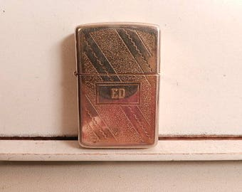 vintage gold tone zippo lighter with name ed
