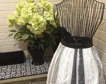 Black and White Half Apron