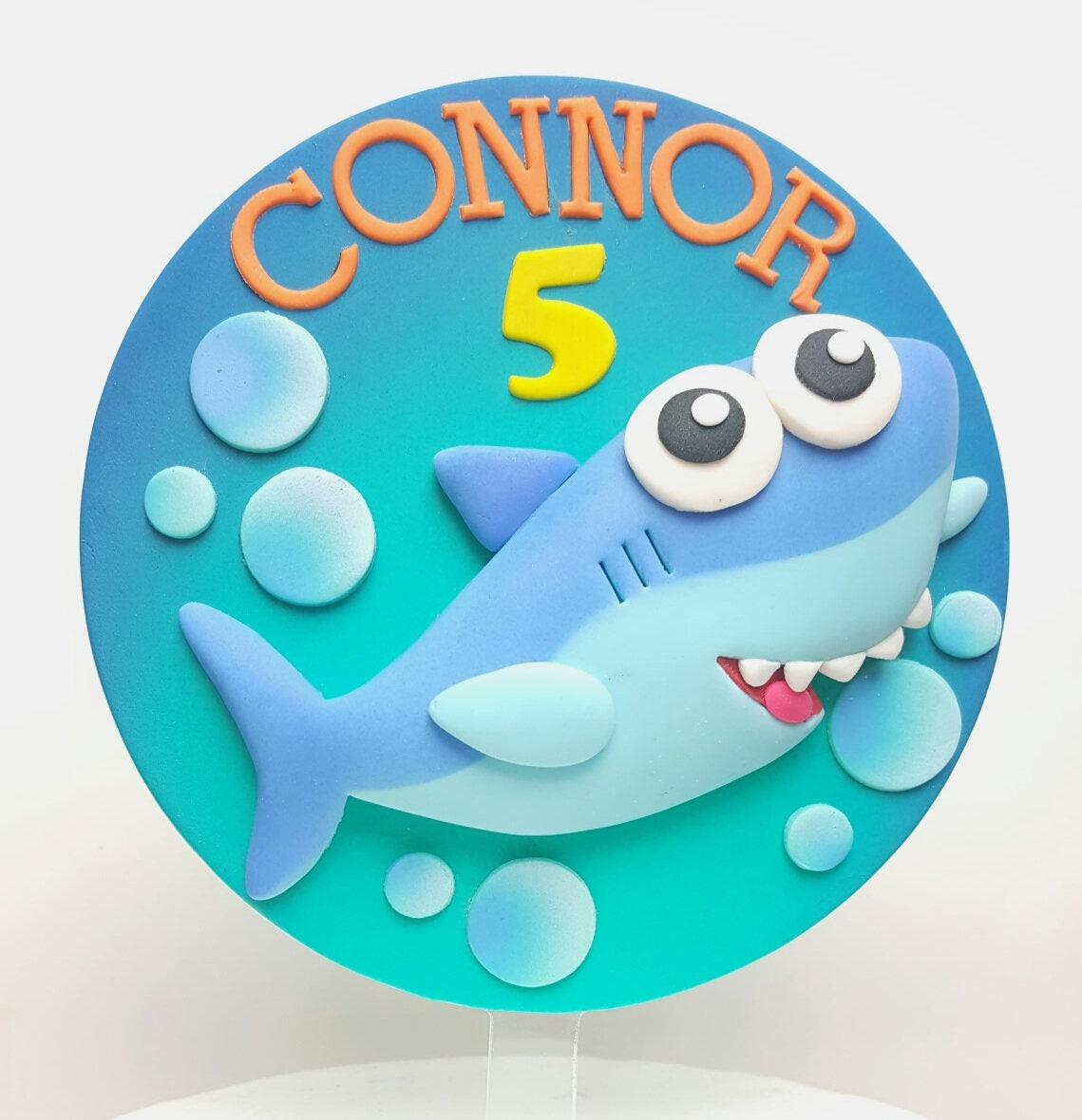 Fondant Cake Topper: Inspired in Baby Shark Cartoon from ...