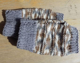 Wristies, Wrist Warmers, Arm Warmers, Fingerless Gloves in Grey and Fawn