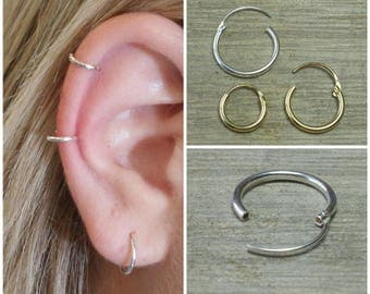 Hoop earrings, Sterling silver hoop, Small hoops, Silver hoops, Tiny hoops, Small silver hoops, Gold cartilage hoop, Delicate hoops, Hoops