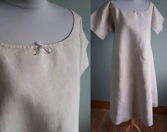 Antique linen smock chemise or chore shirt vintage night shirt short sleeves farmers shift or chemise, large hemp dress Edwardian nightdress