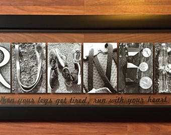 RUNNER art sign - marathon- Sign, letter art photography made from running shoes, metals, water, and streaching bands One of A Kind Gift