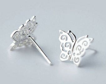 Cute & Simple 925 Sterling Silver Dainty Cutout Butterfly Earrings