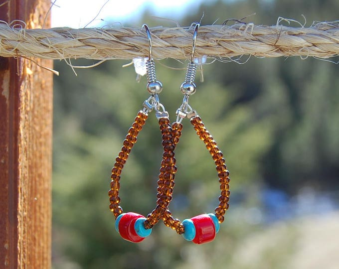 Turquoise & Red Coral Beaded Hoop Earrings