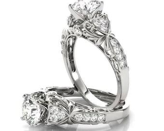 Forever Brilliant Moissanite Filigree Floral Diamond Engagement Ring
