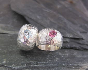 Pink tourmaline silver ring designed by Stephane de Blaye, reclaimed silver