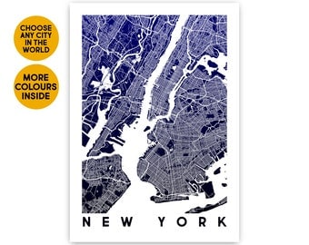 New York map wall art print 1st Anniversary gift for Women gift for Boyfriend gift for Girlfriend gift for Men Gift for Husband gift for her