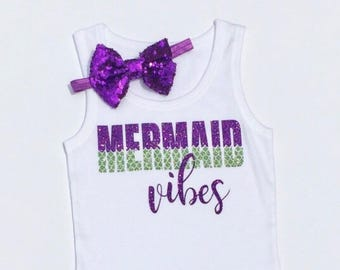 Mermaid Vibes Glitter Tank, Sparkle Tank, Infant Toddler Girls Shirt, MerBabe, Mermaid Tribe, Beach Babe, Mermaid Party