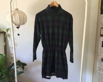 Tartan turtleneck dress