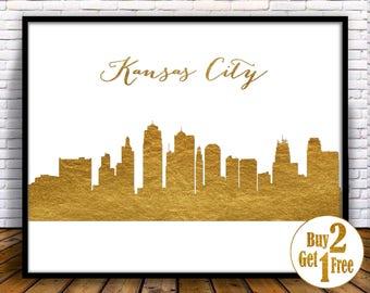 Kansas City Wall Art kansas city skyline | etsy