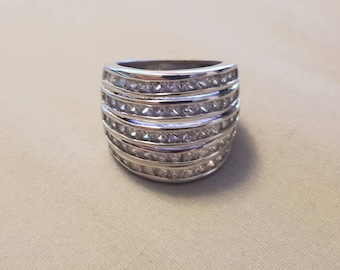 Vintage Sterling Silver Five stack cz ring (Size 5.5)