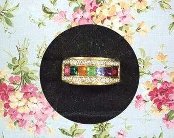 Eternity Sparkles, Comes in Box! Gorgeous Multi Stone GP CZ Eternity Ring. Gift for Mother or Wife, Christmas Gift.