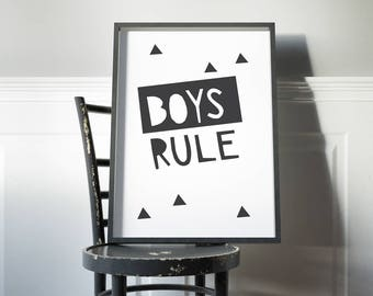 Boys rule kids room wall art // black and white boys room decor art print // modern boys rule art print