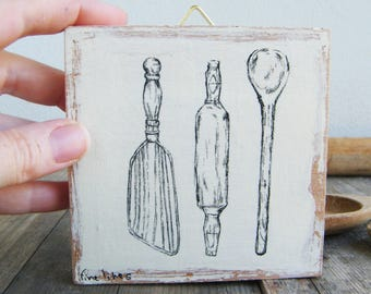 Miniature picture, Kitchen tools, Antique style kitchen decor, Wood sign, Country home decor, Rustic kitchen decor, Print on wood, Spoons