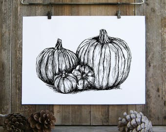 Thanksgiving decor, Pumpkin sketch, Black and white pumpkins poster, Printable wall art, Kitchen decor, Thanksgiving gift