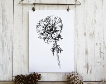 Anemone flower print, Spring decor, Black and white flower illustration, Printable wall art, Hostess gift, Instant download