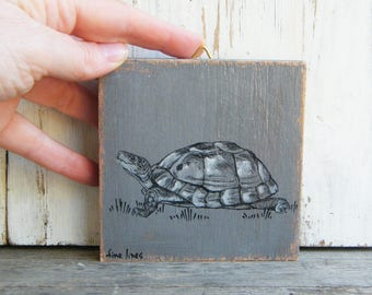 Turtle Print, Kids Decor, Miniature Painting, Cute Animals, Rustic Nursery, Kids Room, Wood Wall Sign, Nursery Art, Woodland Baby Shower