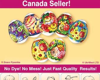 Flowers Easter Egg Sleeves Shrink Only Wraps Easter Decoration Pysanka
