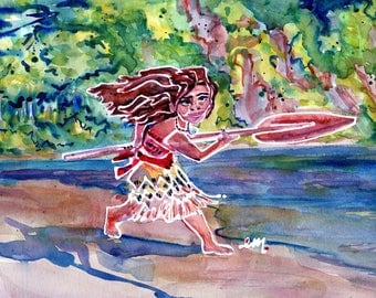 Moana Goes to Sea -PRINT - PaintBabies