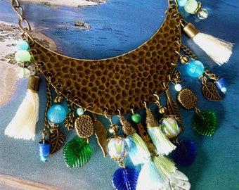 """Awakening"" ethnic bib necklace, beads, stones, glass, tassels, bronze metal."