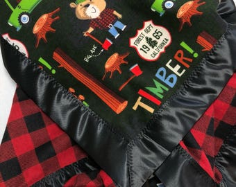 Lumberjack baby blanket, receiving blanket, flannel baby blanket, lumberjack bedding, bear blanket, buffalo plaid blanket