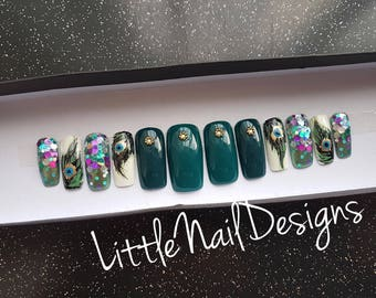 Little Nail Designs Peacock Feather hand painted false nails set of 12 press on / Gifts for her