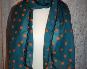 Small pea silk chiffon and lace scarf black scarf