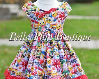 Girls Emoji Dress - Emoji Birthday - Birthday Dress - School Dress - Pageant Dress - Heart Eyes Emoji - Poop Emoji